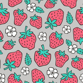 Strawberries Strawberry & Flowers Summer Fruit Red on Grey