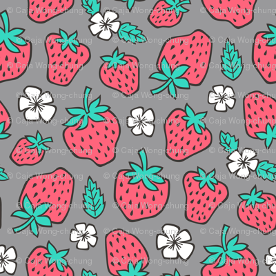 Strawberries Strawberry & Flowers Summer Fruit Red on Dark Grey