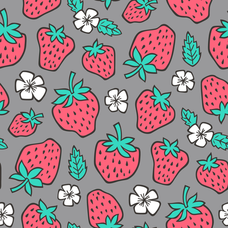 Strawberries Strawberry & Flowers Summer Fruit Red on Dark Grey fabric by caja_design on Spoonflower - custom fabric