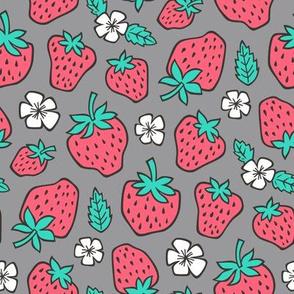 Strawberries Strawberry & Flowers Summer Fruit Red on Dark Grey