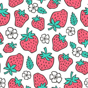 Strawberries Strawberry & Flowers Summer Fruit Red on White