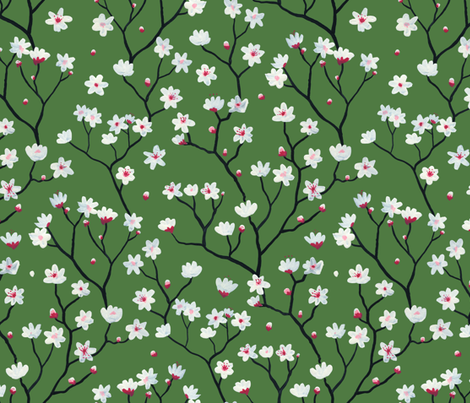 Blossom Green fabric by mayabeeillustrations on Spoonflower - custom fabric