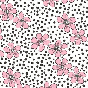 Vintage Summer Pink Flowers with Hand Drawn Black Dots on White