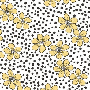 Vintage Summer Yellow Flowers with Hand Drawn Black Dots on White