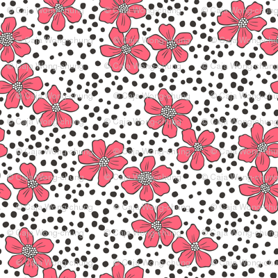 Vintage Summer Red Flowers with Hand Drawn Black Dots on White