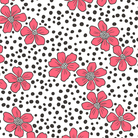 Vintage Summer Red Flowers with Hand Drawn Black Dots on White fabric by caja_design on Spoonflower - custom fabric
