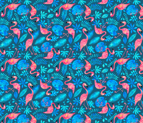 Flamingo jungle watercolor blue fabric by heleen_vd_thillart on Spoonflower - custom fabric