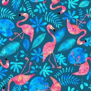 Flamingo jungle watercolor blue