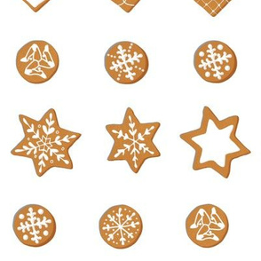 Winter Cookies on white - grid