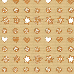 Winter Cookies on brown paper - grid