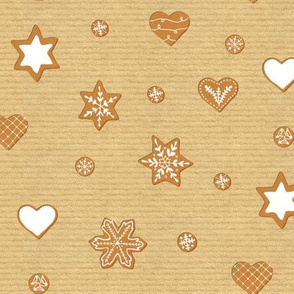 Winter cookies on brown paper