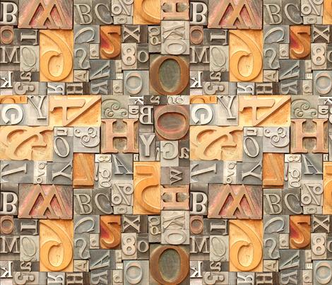 Metal & Wood Letterpress Type - medium fabric by rawbonestudio on Spoonflower - custom fabric