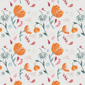 Watercolor tossed floral pattern