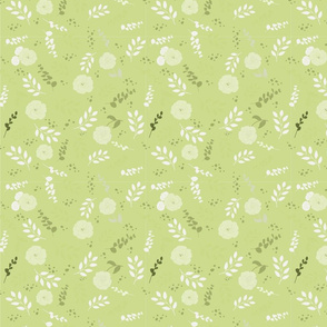 Tossed floral pattern in light green