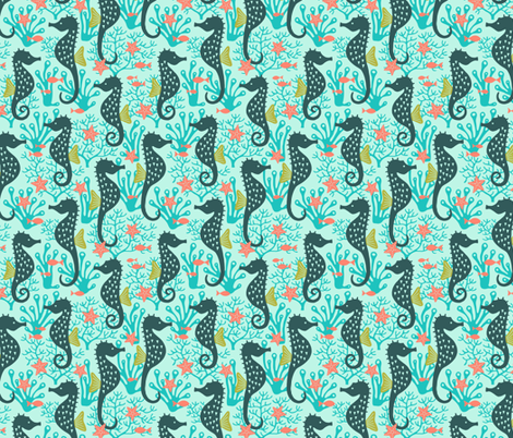 Seahorse in coral reef turquoise fabric by heleen_vd_thillart on Spoonflower - custom fabric