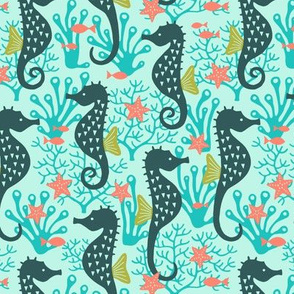 Seahorse in coral reef turquoise