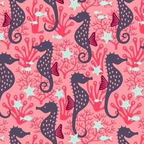 Seahorse in coral reef pink