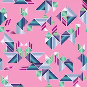 Metallic 80's tangrams