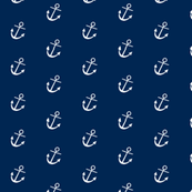Navy Blue Background with White Anchors - Alain Gree