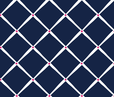 Diamonds and Dots - Indigo and Pink fabric by jillbyers on Spoonflower - custom fabric