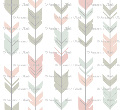 Arrow Feathers - Pastels on white - woodland nursery