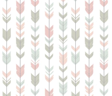 Arrow Feathers - Pastels on white - woodland nursery fabric by sugarpinedesign on Spoonflower - custom fabric