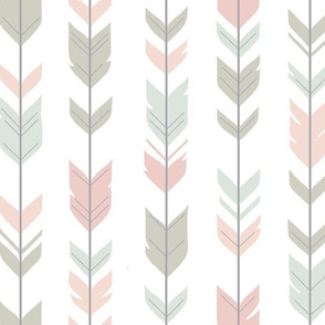 Arrow Feathers - Pastels on white - woodland nursery