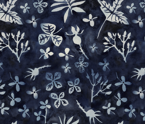 garden silhouettes midnight blue fabric by gollybard on Spoonflower - custom fabric