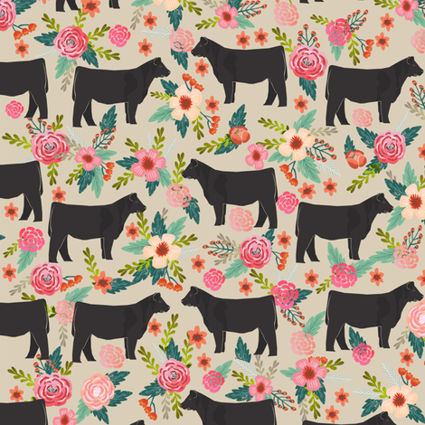 steer floral fabric show steer cows farm barn fabric florals design - sand fabric by petfriendly on Spoonflower - custom fabric
