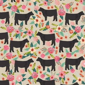steer floral fabric show steer cows farm barn fabric florals design - sand