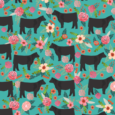 steer floral fabric show steer cows farm barn fabric florals design - turquoise fabric by petfriendly on Spoonflower - custom fabric