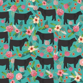 steer floral fabric show steer cows farm barn fabric florals design - turquoise