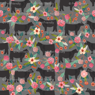 steer floral fabric show steer cows farm barn fabric florals design - grey