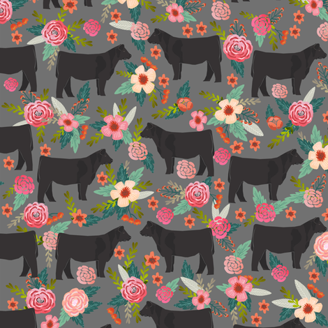 steer floral fabric show steer cows farm barn fabric florals design - grey fabric by petfriendly on Spoonflower - custom fabric
