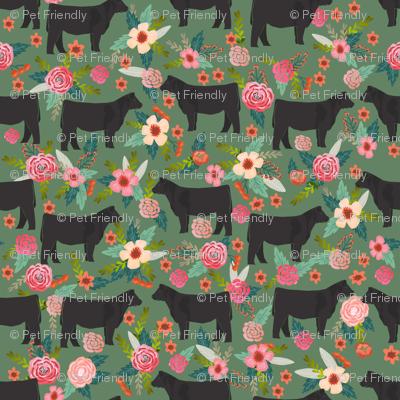 steer floral fabric show steer cows farm barn fabric florals design - medium green