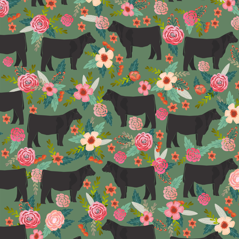 steer floral fabric show steer cows farm barn fabric florals design - medium green fabric by petfriendly on Spoonflower - custom fabric