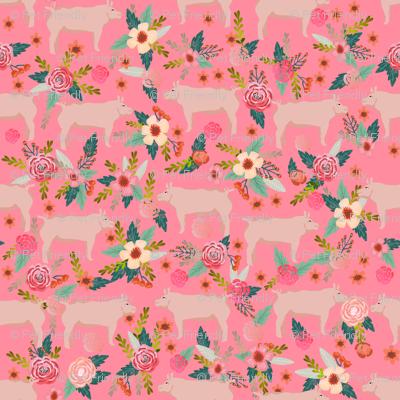 pigs and florals fabric farmyard animals farm fabrics - pink