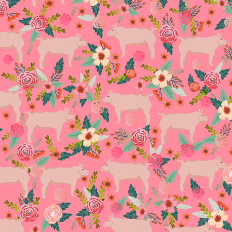 pigs and florals fabric farmyard animals farm fabrics - pink fabric by petfriendly on Spoonflower - custom fabric