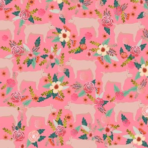 pigs and florals fabric farmyard animals farm fabrics - pink