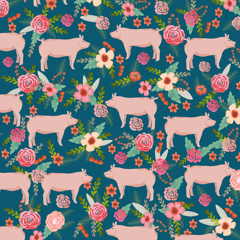 pigs and florals fabric farmyard animals farm fabrics - sapphire fabric by petfriendly on Spoonflower - custom fabric