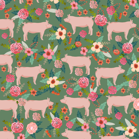 pigs and florals fabric farmyard animals farm fabrics - medium green fabric by petfriendly on Spoonflower - custom fabric