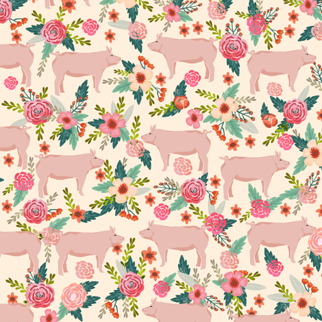 pigs and florals fabric farmyard animals farm fabrics - cream fabric by petfriendly on Spoonflower - custom fabric