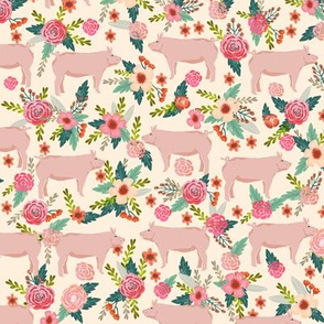 pigs and florals fabric farmyard animals farm fabrics - cream