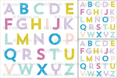 1 blanket + 2 loveys: alphabet baby blanket pink lavender teal yellow