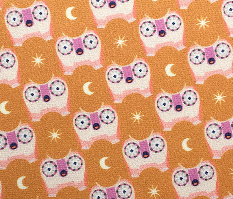 Who Dunnit? (Pinks on Gold Seal) || owl bird star moon check night sky children kids baby nursery steampunk mustard