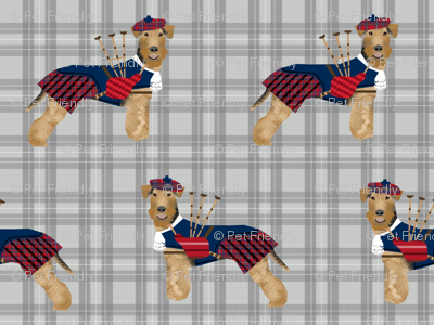 welsh terrier bagpipes fabric dogs in costume fabric tartan
