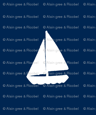 Navy Blue Background with White Sail Boats / Yachts  - Alain Gree