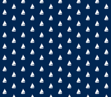 Navy Blue Background with White Sail Boats / Yachts  - Alain Gree fabric by ricobel on Spoonflower - custom fabric