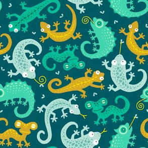 Lizards ditsy on dark teal