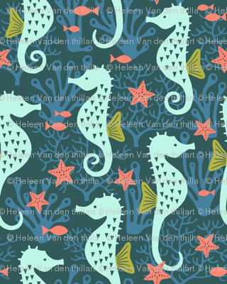 Seahorse in coral reef navy (small)